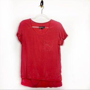 Rag & Bone Silk Red Short Sleeve Blouse Size XS